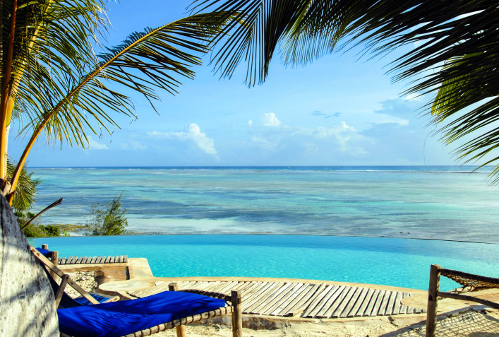 Infinity pool overlooking Indian Ocean at Kiwengwa Beach,Zanzibar,Tanzanai