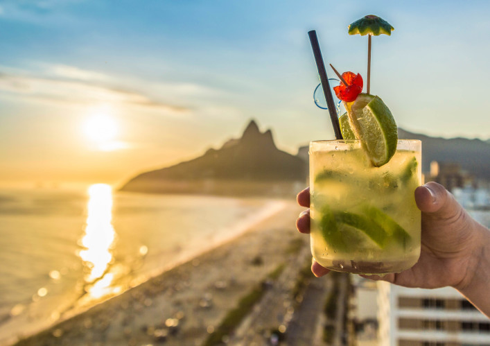 Cocktail with Rio de Janeiro, Brazil beach background