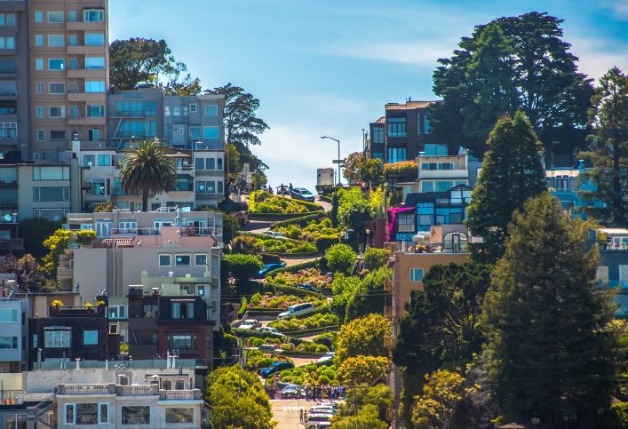 The famous Lombard Street, San Francisco, California, USA