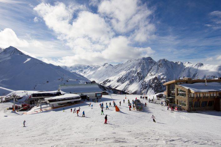 Panorama of the Austrian ski resort of Ischgl. Taken at the main Idalp plateau. shutterstock_174105239
