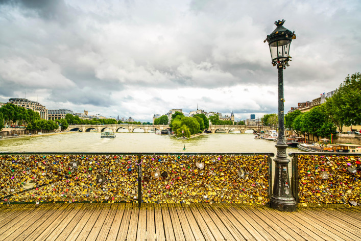 Love padlocks  Pont des Arts bridge, Seine river, Paris, France.