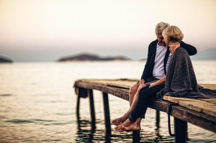 Loving senior couple enjoying their life together