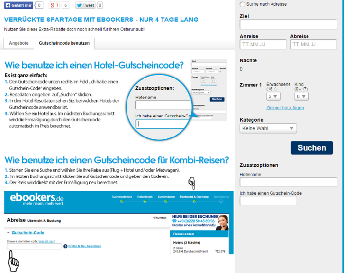 Screenshot ebookers von Jan