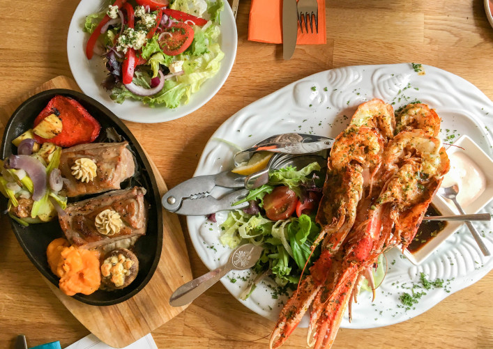 Fillet of Lamb served with salad, Grilled Langoustine and Mixed Salad shutterstock_418852990-2