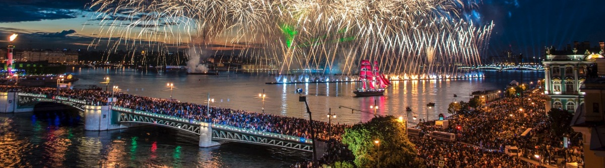 Crowd on Palace Bridge look at grandiose fireworks at night in St. Petersburg, Russia shutterstock_266630135-2