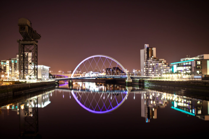 Glasgow Arc 'Squinty' Bridge by Night