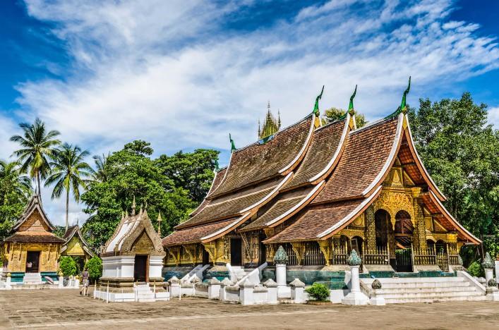 Wat Xieng Thong buddhist temple in Luang Pra Bang in Laos