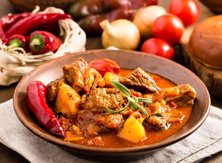 Hungarian goulash in plate