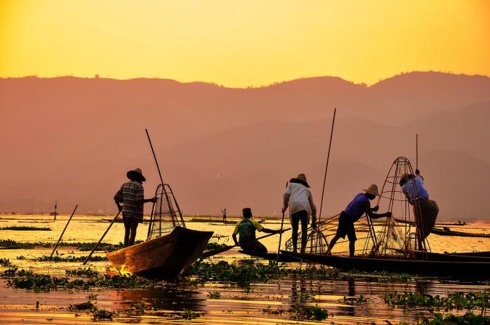 Myanmar Tipps Fischer Sonnenuntergang