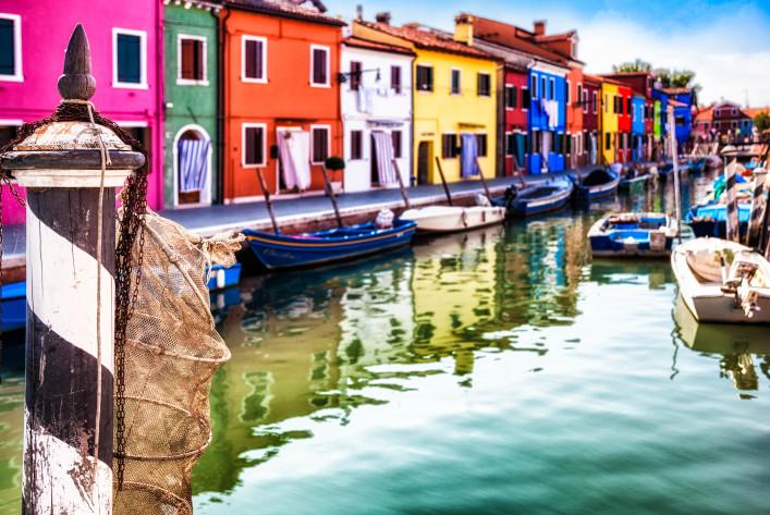 Venice:  Typical street on Burano Island