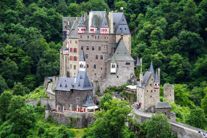 Burg Eltz, landmark medieval castle at the Rhine Valley, Germany shutterstock_199066442-2