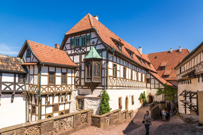 Half-timbered buildings inside the castle shutterstock_443147041 EDITORIAL ONLY Valery Rokhin-2