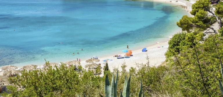 Beautiful turquoise beach in Mlini, Croatia