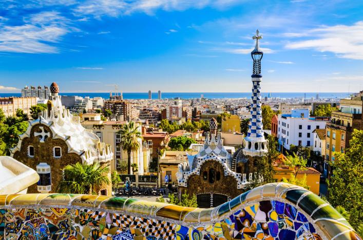 Barcelona im Sommer Park Guell