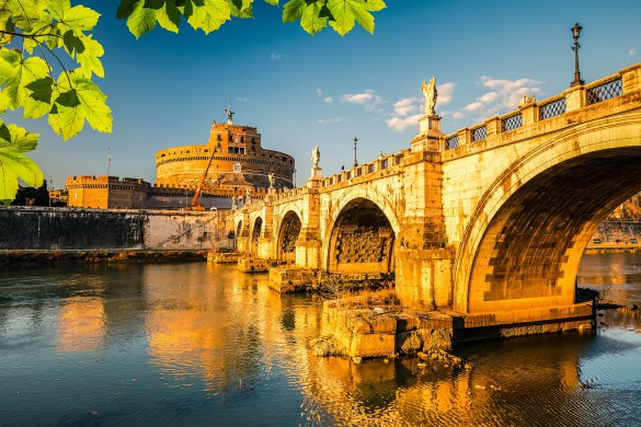 Saint Angel Castle and bridge over the Tiber river in Rome, Italy shutterstock_267876227-2