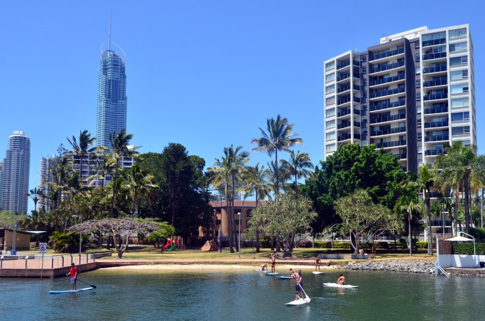 People paddle board in Gold Coast Queensland Australia