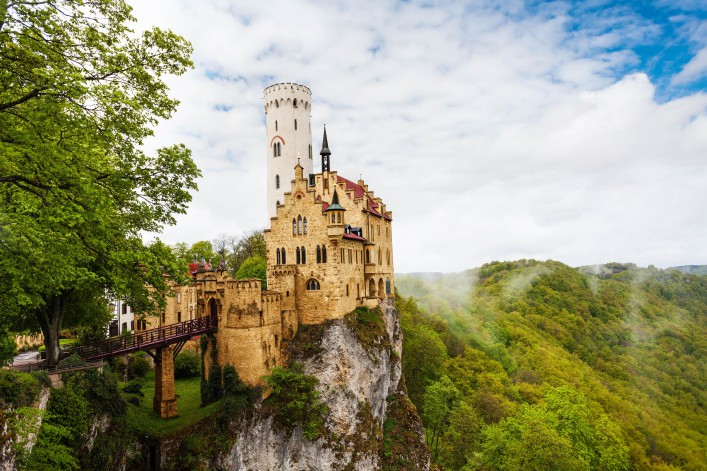View of the Lichtenstein Germany castle in clouds shutterstock_314220467-2