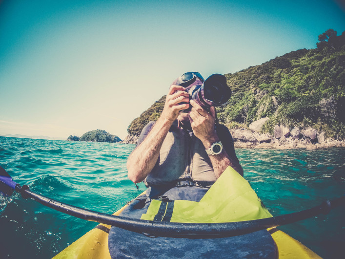 POV Man Kayaking in Abel Tasman National Park, New Zealand