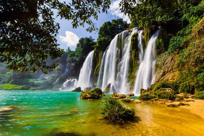 Spektakulärsten Wasserfälle Bangioc Vietnam
