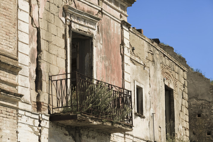 """Abandoned house with balcony, Craco Basilicata, Italy"""