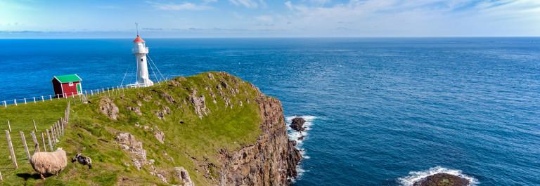 Faroe Islands, landscape of Akraberg lighthouse
