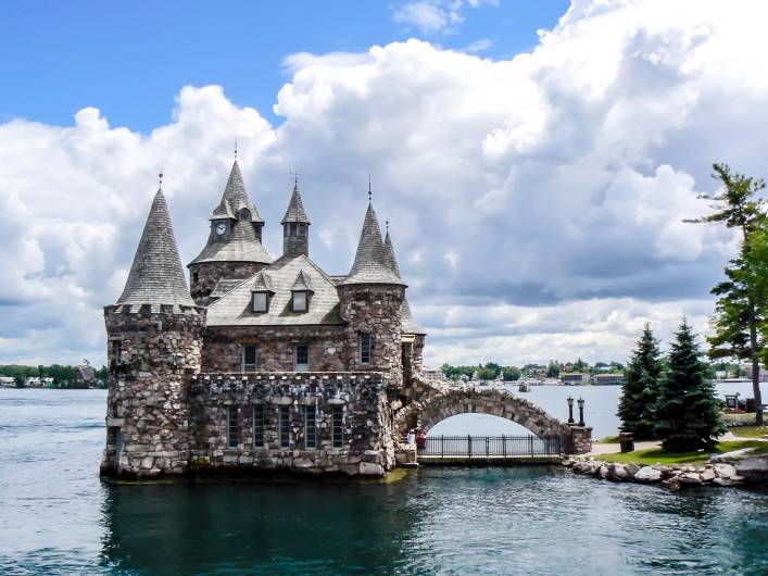 Castle-like power house on Ontario Lake, Canada