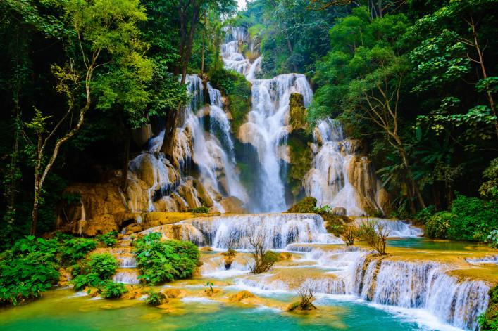 Spektakulärsten Wasserfälle Kuang Si