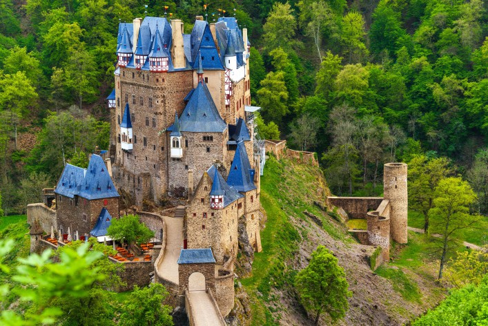 Eltz castle view above, Muenstermaifeld Germany shutterstock_280236680-2