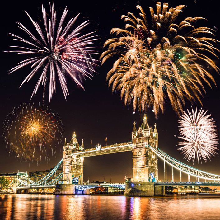 new year celebration over the tower bridge in London