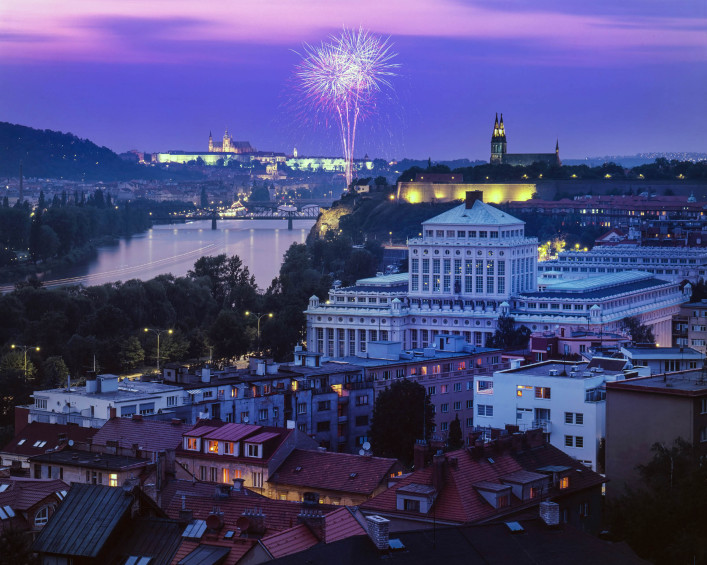 nice view on fireworks at Prague