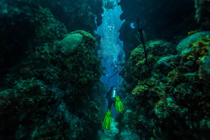 Scuba diver swims through tunnel shutterstock_167593784 EDITORIAL ONLY Pete Niesen-2