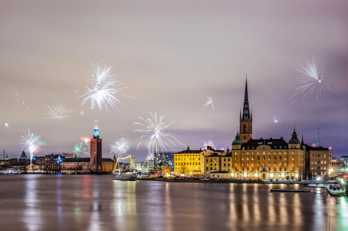 New Year Fireworks 2016 in Stockholm