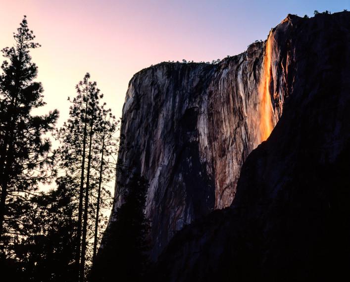 Sunset on Horsetail Falls, Yosemite