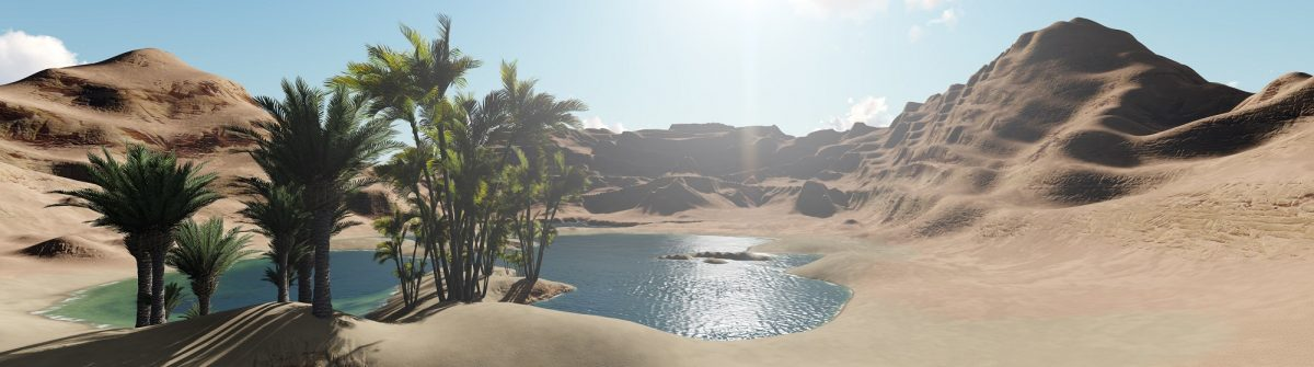 3d rendering – Oasis in the desert_shutterstock_640181305_klein