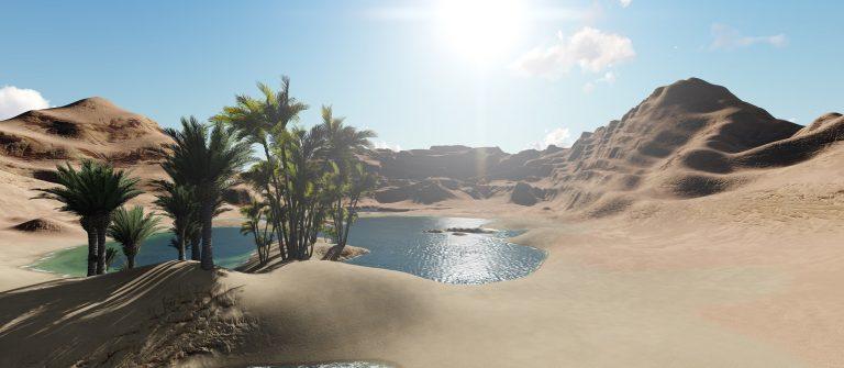3d rendering – Oasis in the desert_shutterstock_640181305_klein