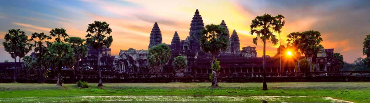 Angkor Wat at sunrise, famous temple at Siem Reap, Cambodia.