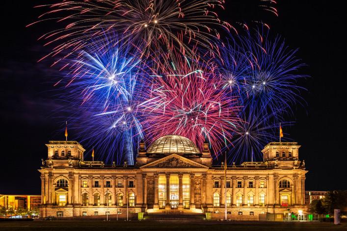 Berlin, Reichstag (German Parliament), Fireworks shutterstock_166265162-2