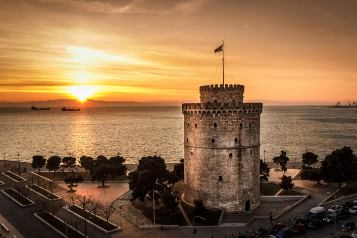 Romantic sunset watching the White Tower of Thessaloniki