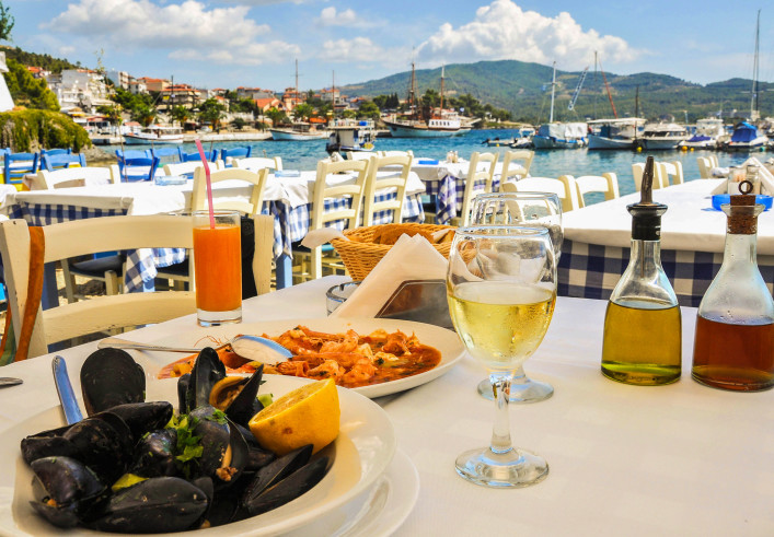 Seafood restaurant in Greece shutterstock_260372990-2