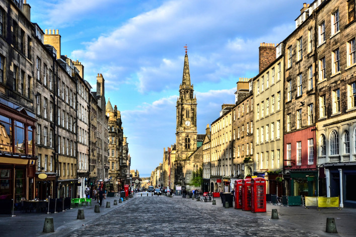View down the Royal Mile, Edinburgh, Scotland iStock_000043834294_Large-2