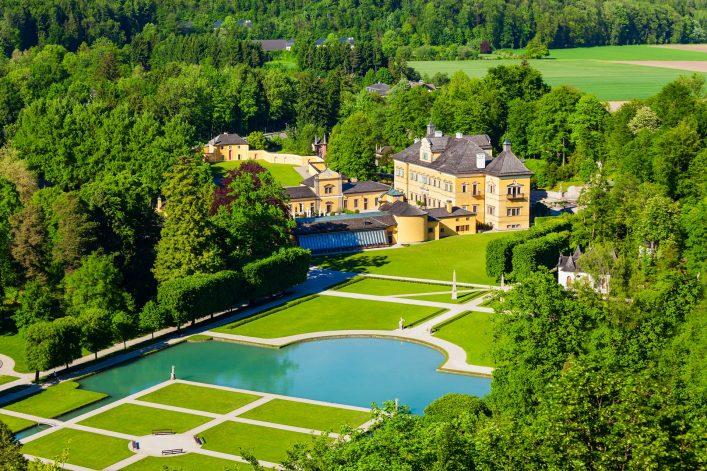 Hellbrunn Palace or Schloss Hellbrunn in Salzburg, Austria shutterstock_703958503