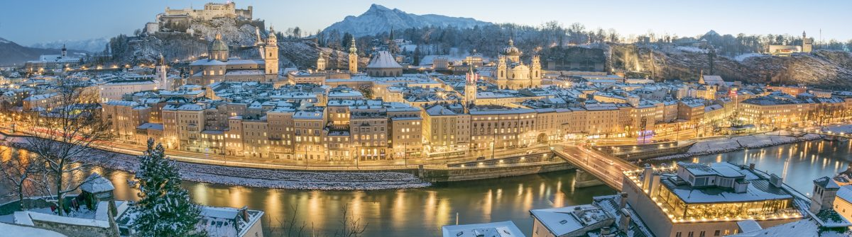 Salzburg with Hohensalzburg covered in Snow
