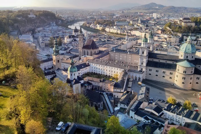 View of Salzburg, Austria, from the Hohensalzburg Castle. shutterstock_779453044