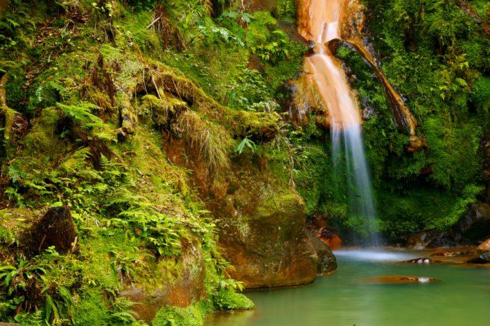 Azoren Waterfall Caldeira (caldera) Velha in the island of Sao Miguel, Azores islands shutterstock_537149692