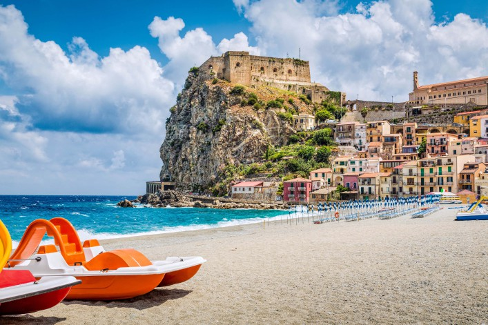 Beach of Scilla with Castello Ruffo, Calabria, Italy shutterstock_431947438-2