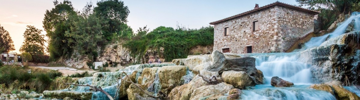 Natural spa with waterfalls in Tuscany, Italy