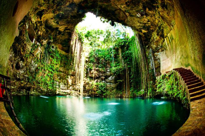 außergewöhnliche Badeorte Ik Kil Cenote Chichen Itza Mexiko