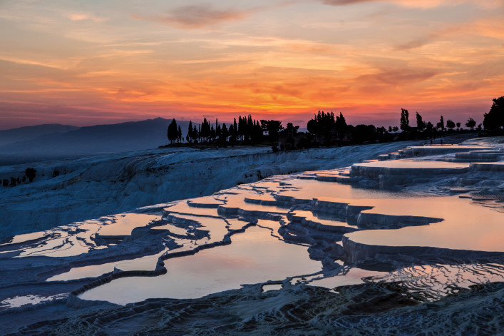Pamukkale Travertines at Sunset, Turkey