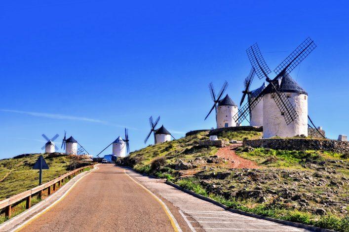 La Mancha Spain windmills shutterstock_723139327