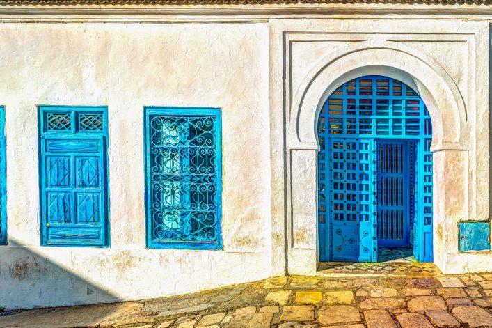 Bunte Häuser in Tunesien